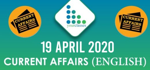 19 April Current Affairs 2020 in English