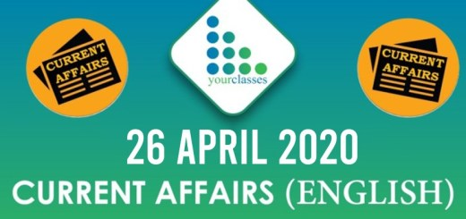 26 April Current Affairs 2020 in English