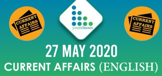 27 May, Current Affairs 2020 in English