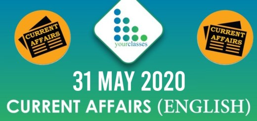 31 May, Current Affairs 2020 in English