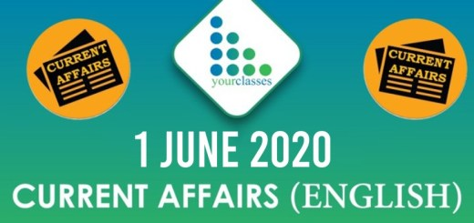 1 June Current Affairs 2020 in English