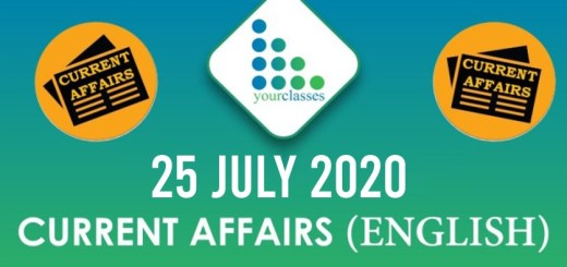 25th July Current Affairs 2020 in English