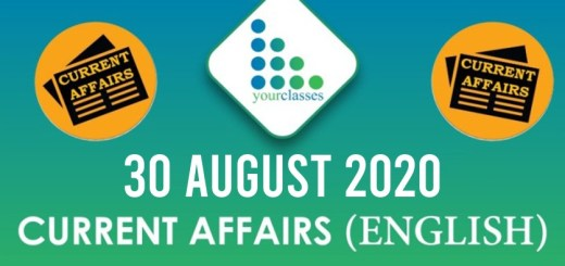 30 August 2020 Daily Current Affairs English
