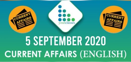 Daily Current Affairs 5th September 2020 in English