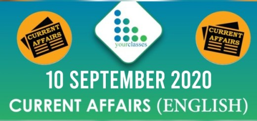 Daily Current Affairs 10th September 2020 in English