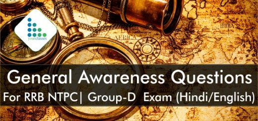 General Awareness Questions For RRB NTPC| Group-D Exam (Hindi/English)