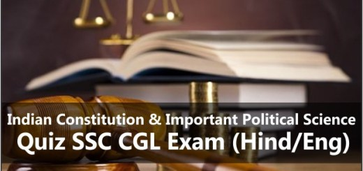 Indian Constitution & Important Political Science Quiz SSC CGL Exam (Hind/Eng)