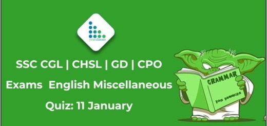 SSC CGL | CHSL | GD | CPO Exams English Miscellaneous Quiz: 11 January