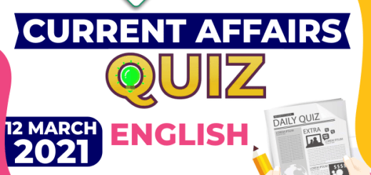 Daily Current Affairs 12 March 2021 English