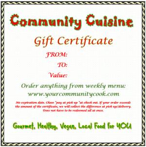 Community Cuisine Gift Certificate
