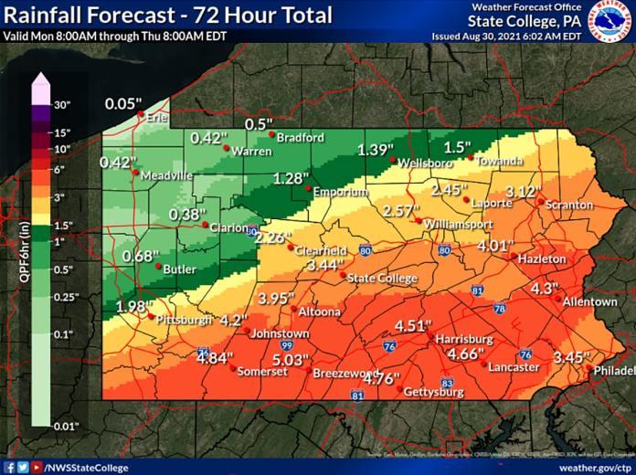 Hurricane Ida PA forecast