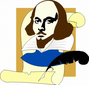 A stylized icon of Shakespeare