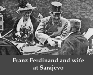 "Franz Ferdinand at Sarajevo. Illustration of the quote from Macbeth, ""Here's the smell of the blood still: all the perfumes of Arabia will not sweeten this little hand."""