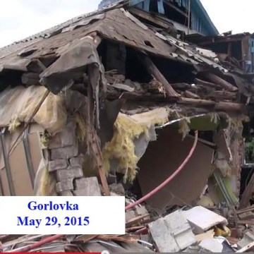 """image showing the house of destroyed family in gorlovka, tied to Shakespeare's quote """"Murder most foul, as in the best it is"""""""