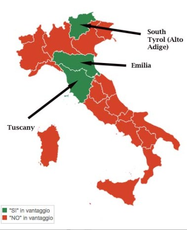 an illustration of Italy and the 3 regions that voted yes in the referendum