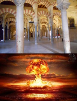 Interior of Spanish Cathedral Example of Spanish Architecture and below an atomic explosion