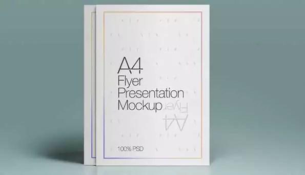 A4 flyer PSD 3D mockup template
