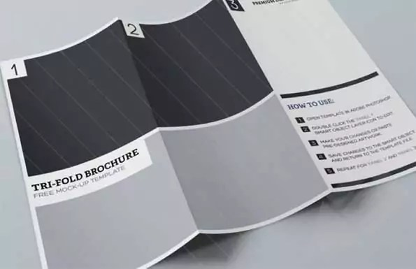tri-fold brochure PSD mockup template