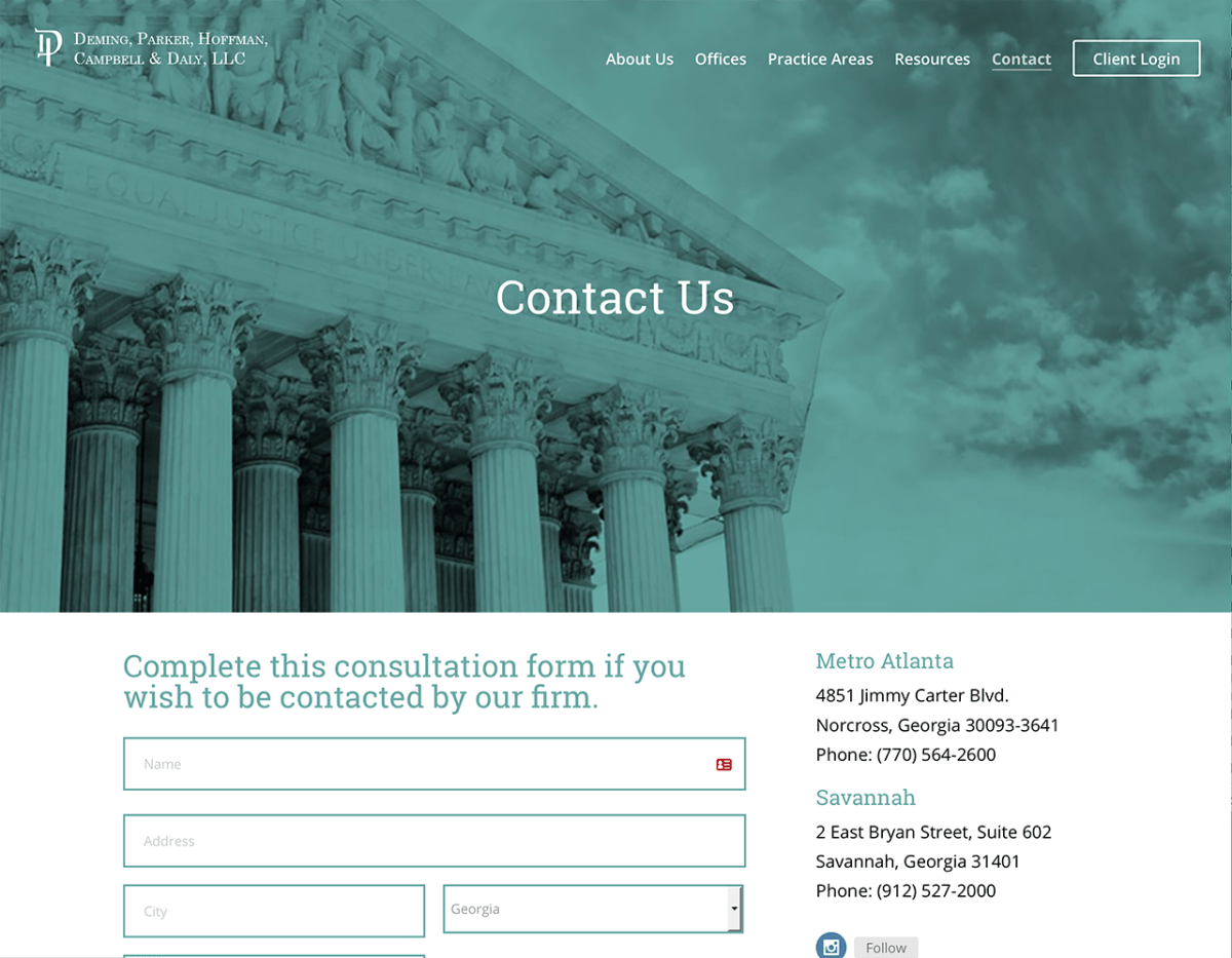 Portfolio Screenshot of Deminglaw Contact Us