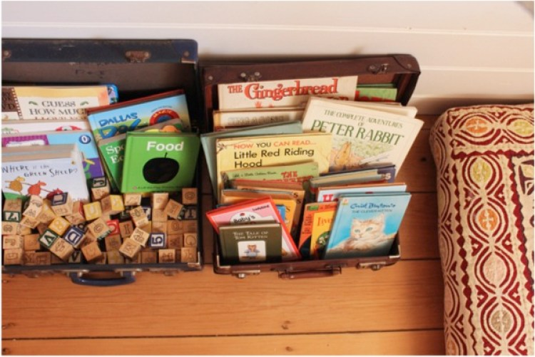 """vintage suitcases for nursery storage"""