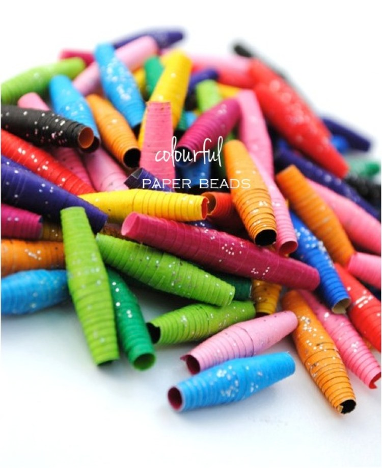 """colourful paper beads kids DIY"""