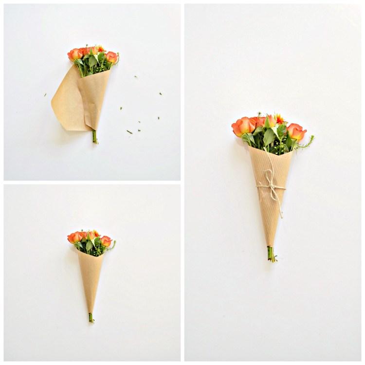 how to wrap a mini bouquet diy