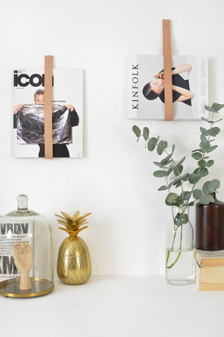 DIY leather magazine holder