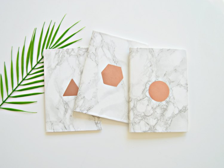 copper and marble notebooks DIY