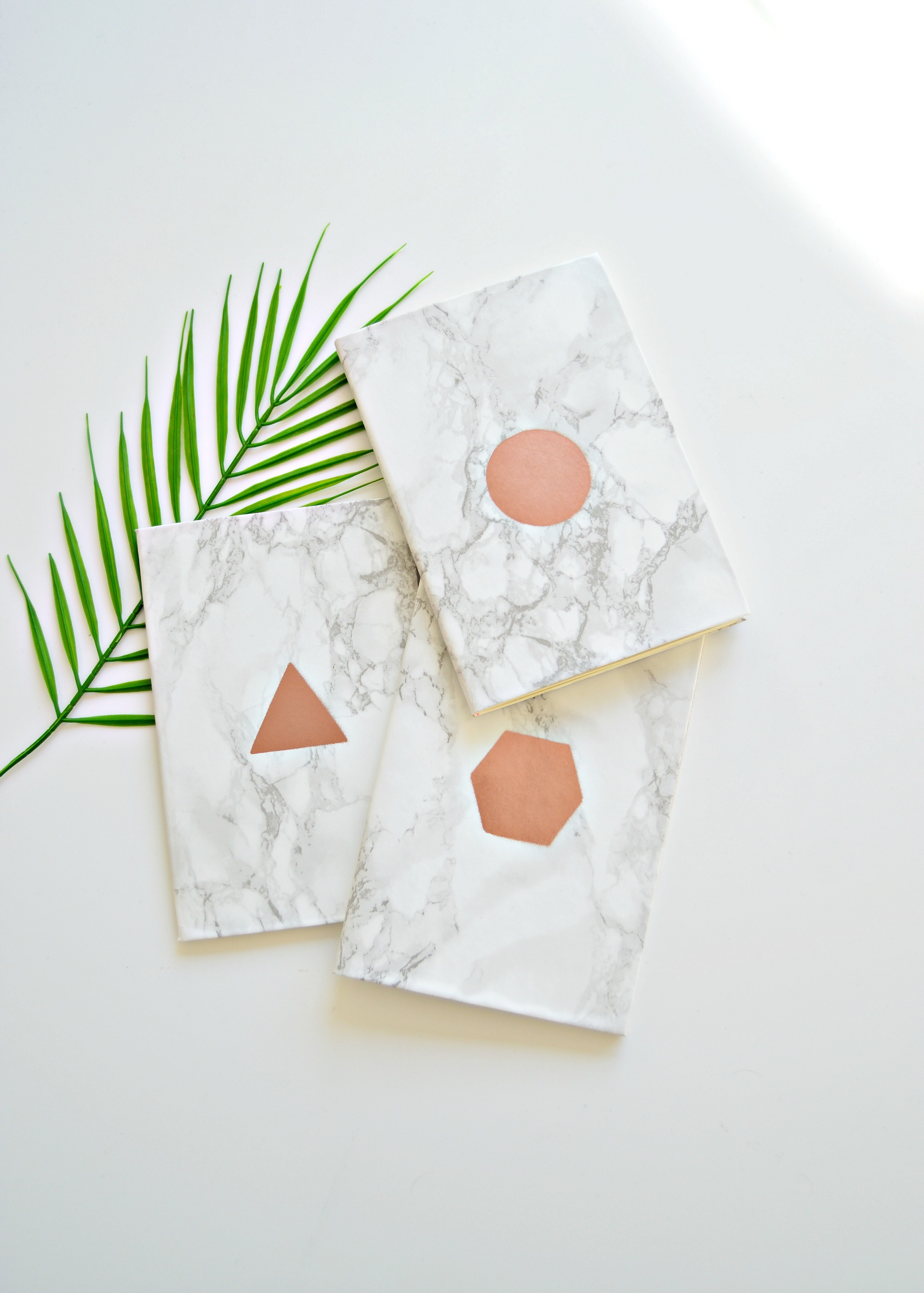 10 minute diy: graphic copper and marble notebook - diy home decor