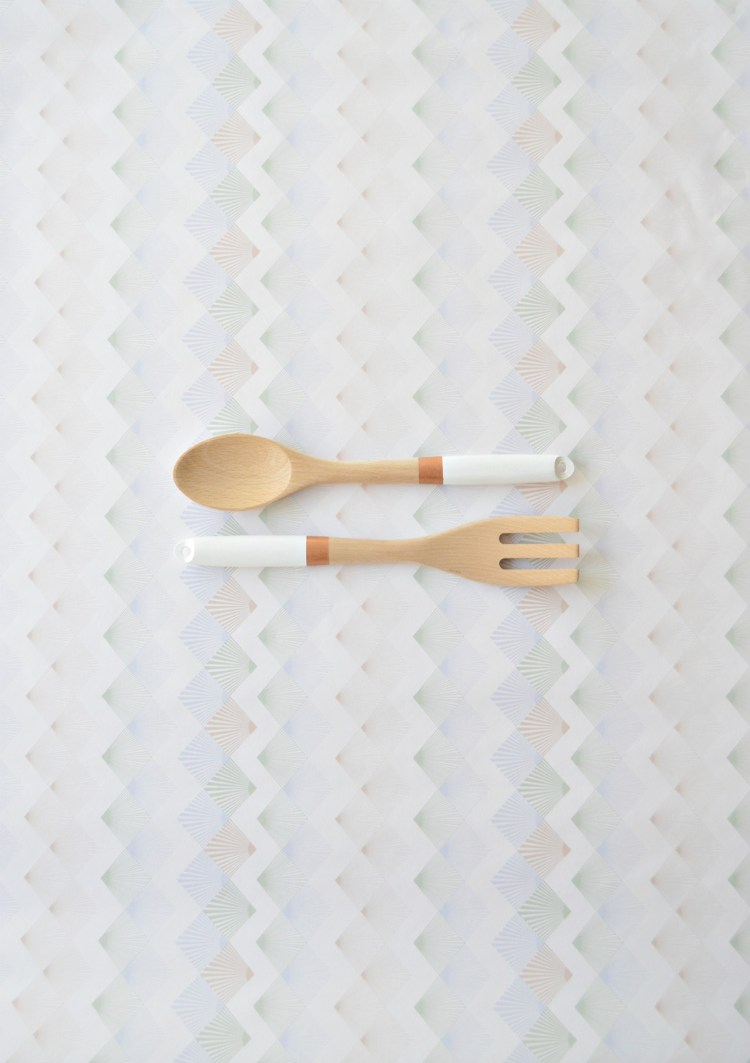 DIY painted salad servers