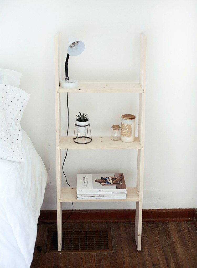 DIY ladder nightstand for bedroom