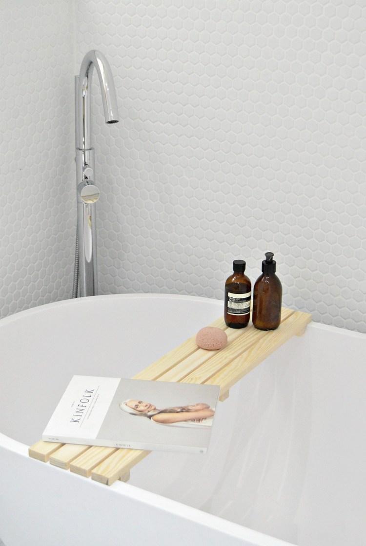 diy wood bathtub tray - make this simple bathtub tray in 15 minutes