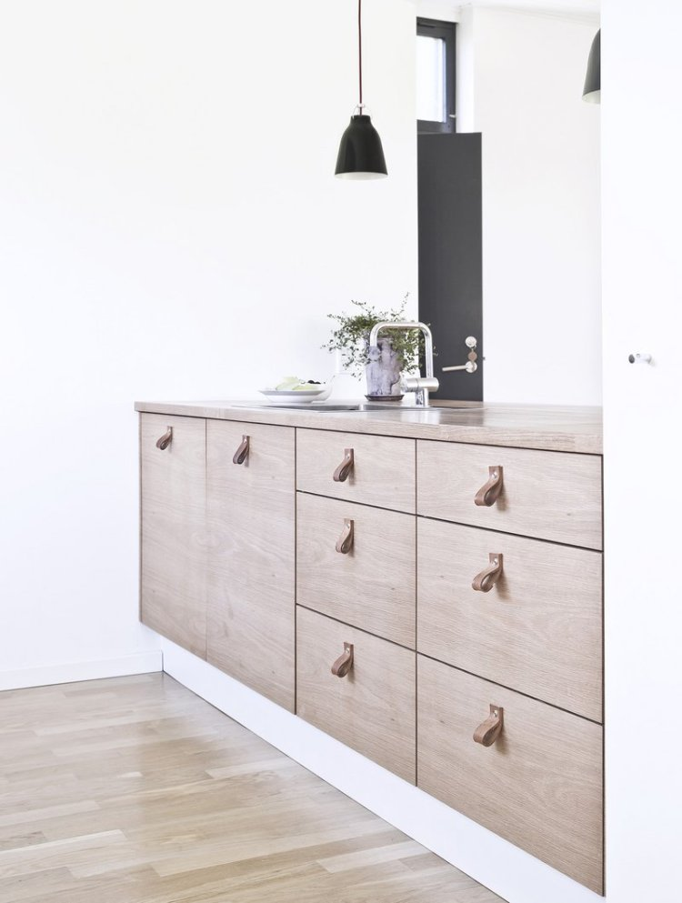 wooden kitchen cabinet and floor combo idea