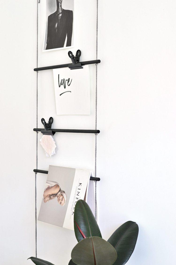 diy hanging dowel ladder
