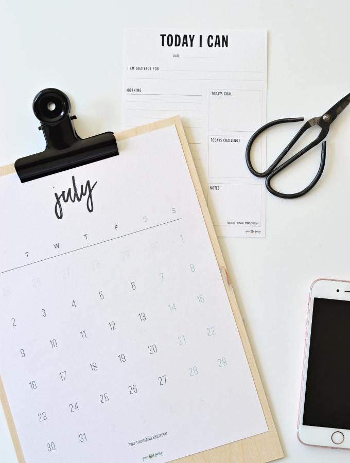 Free Printable July 2018 Calendar