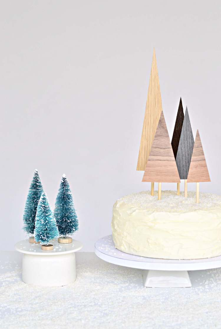 diy Christmas tree cake toppers