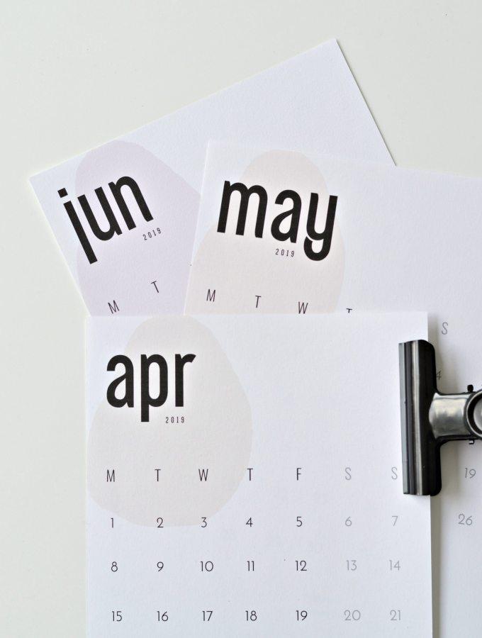 your DIY Family free printable calendar 2019
