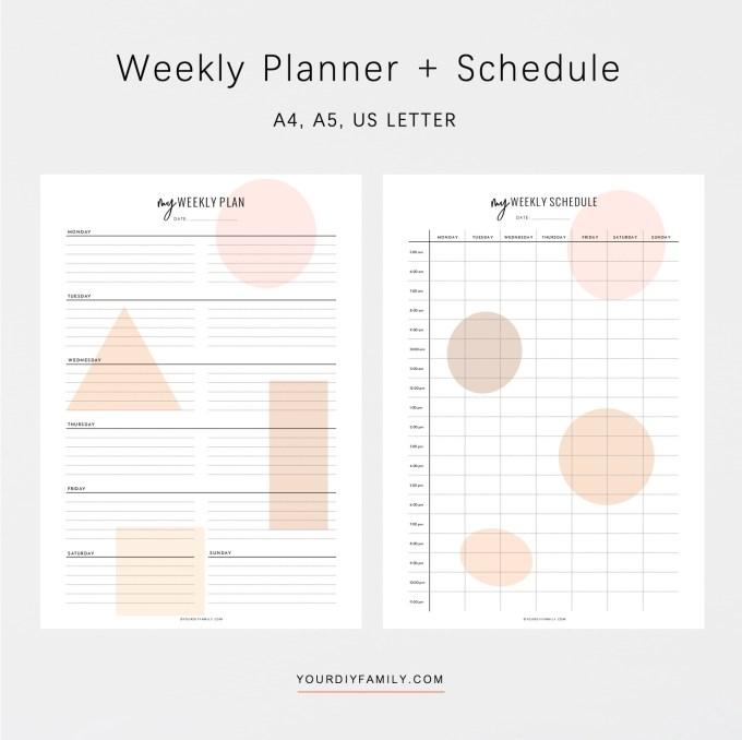 vertical weekly planner printable