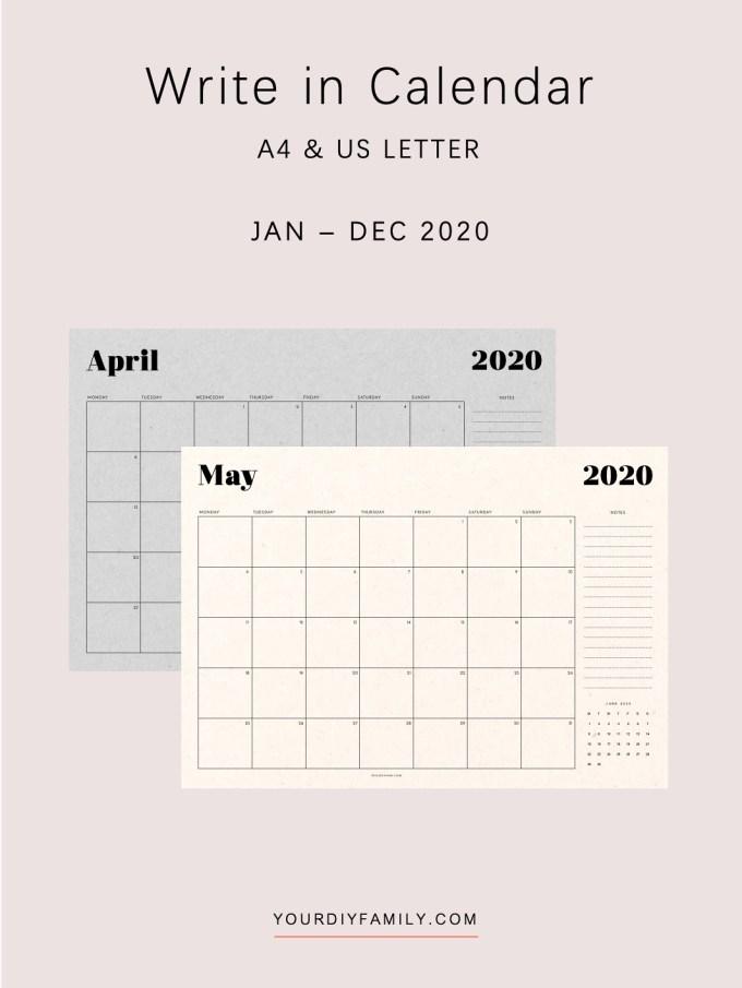 minimalist printable calendar monthly