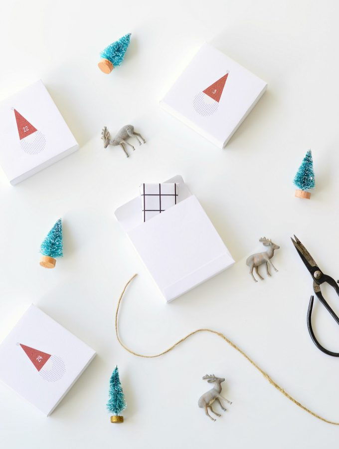 The cutest santa printable advent calendar boxes