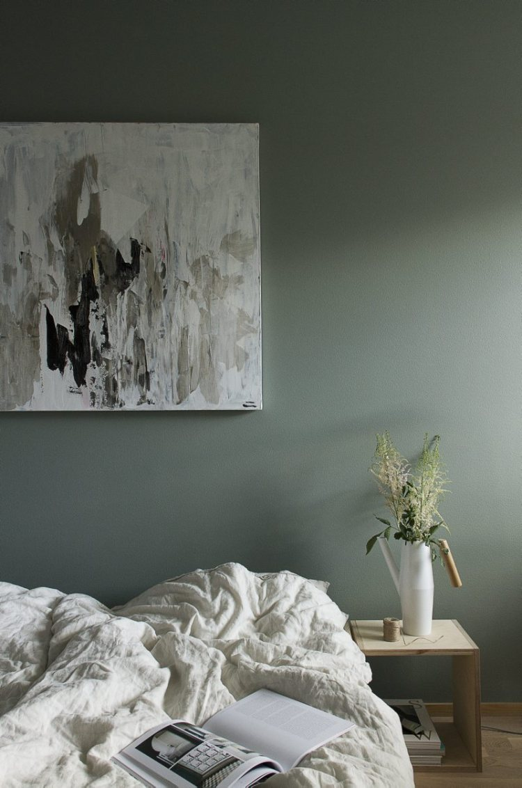 grey green bedroom minimal