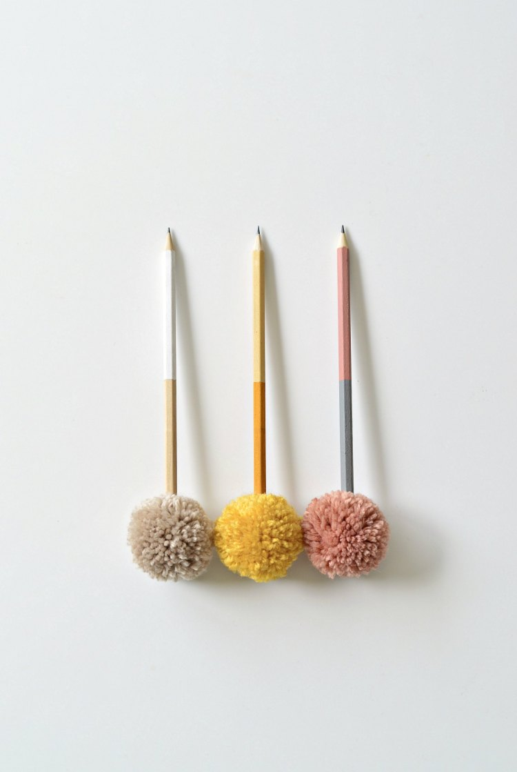 DIY color blocked pompom pencils