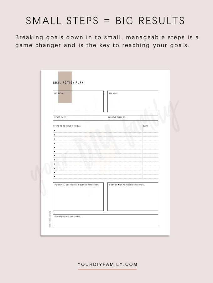 breaking down goals worksheet pdf