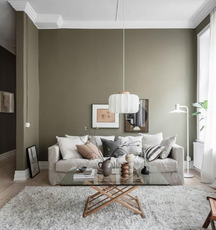 olive green grey white living room