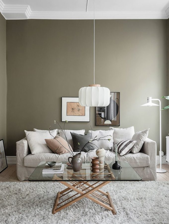 Home tour | cozy apartment with an olive green living room plus beige and grey accents