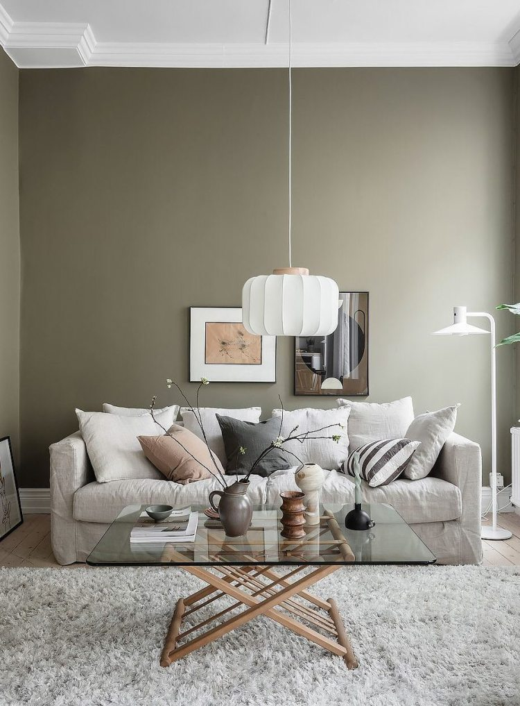 olive green living room