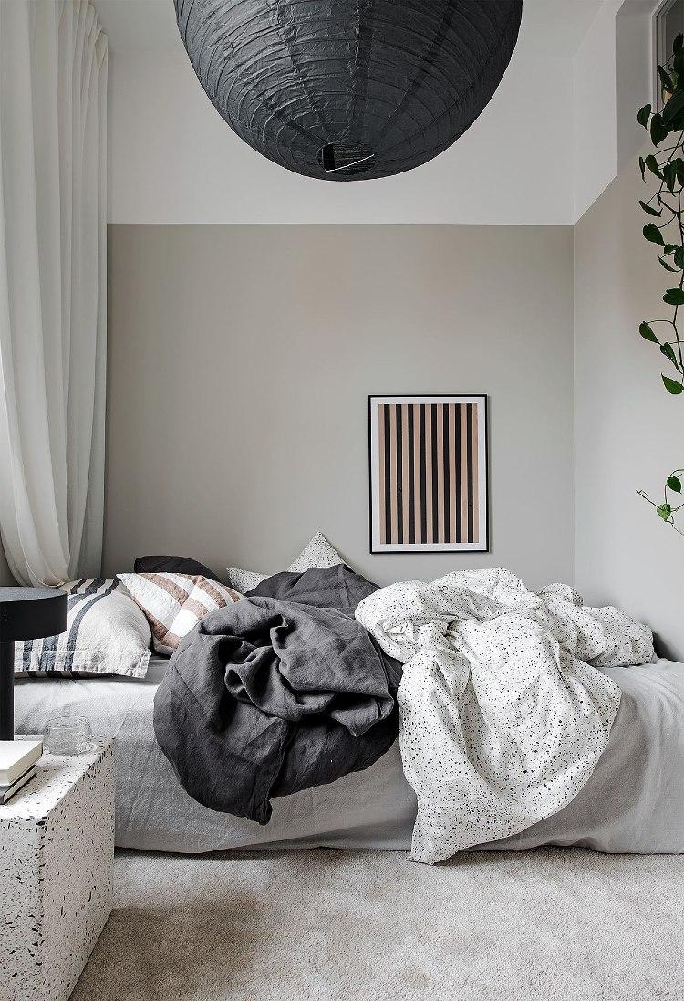 cool grey Scandinavian bedroom