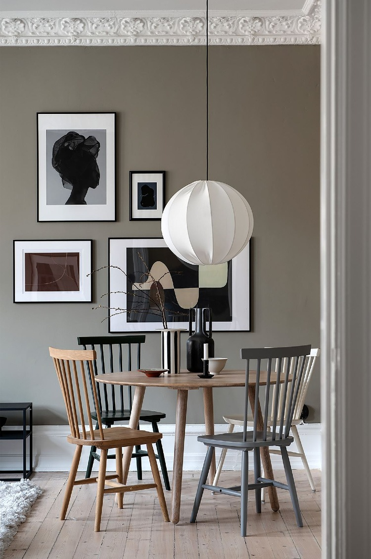 greige wall paint dining room