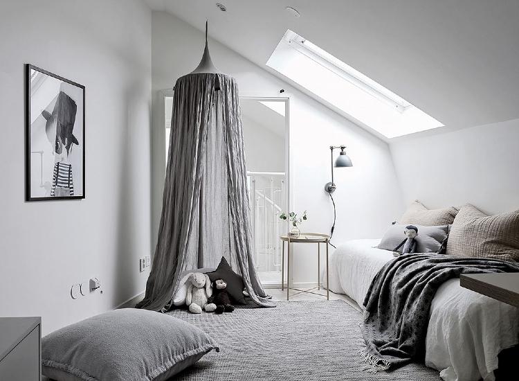 grey kids room scandinavian