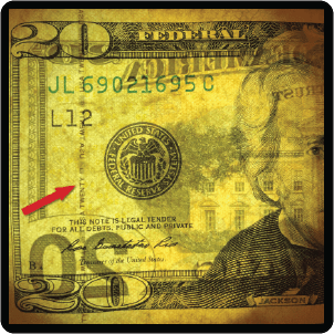 Close up of a security strip on a US $20 note. counterfeit money